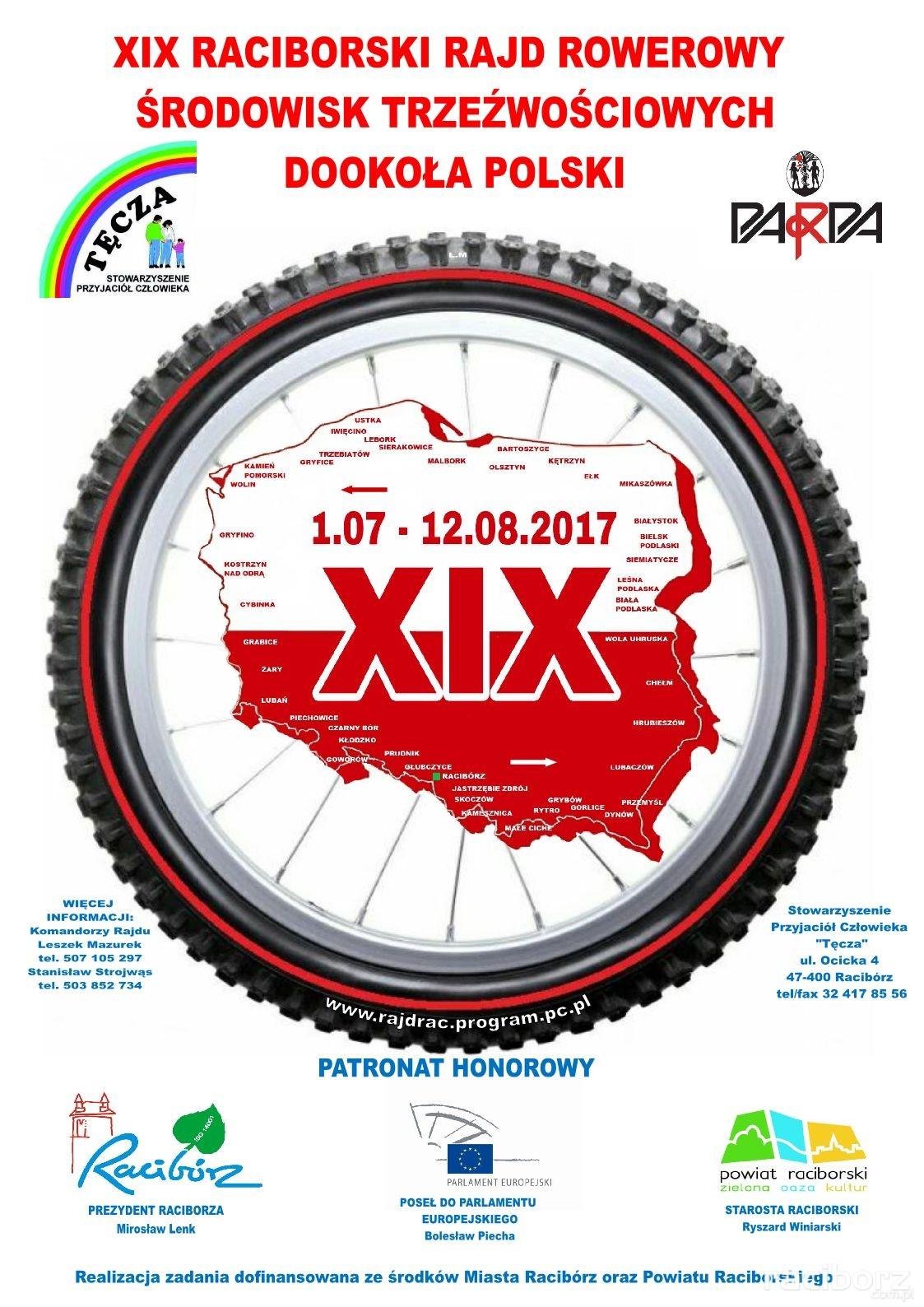Raciborski Rajd Rowerowy Środowisk Trzeźwościowych Dookoła Polski 2017