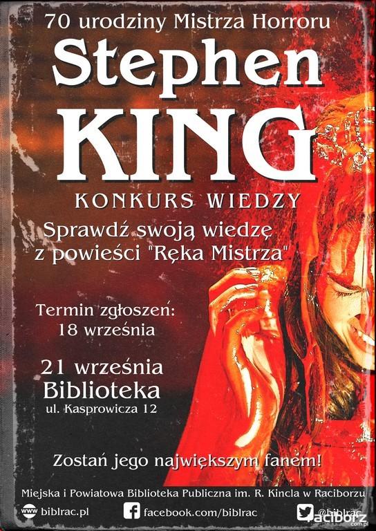 """Biblioteka Racibórz: Urodziny Stephena Kinga. Konkurs wiedzy nt. powieści """"Ręka mistrza"""""""