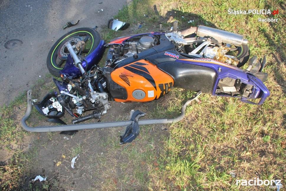 Racibórz. Wypadek na Rybnickiej. Ranny motocyklista