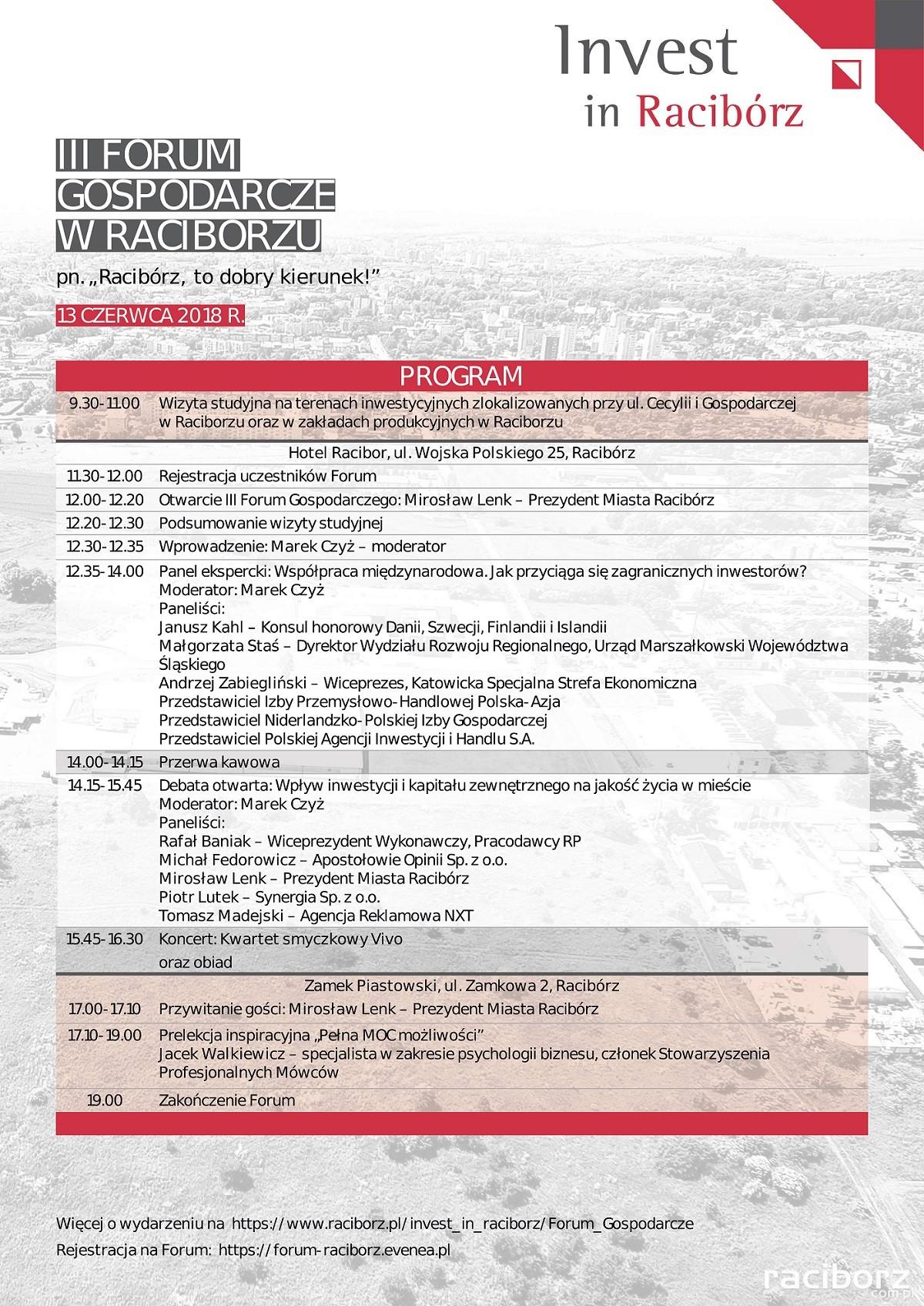 Racibórz. Program ramowy III Forum Gospodarczego