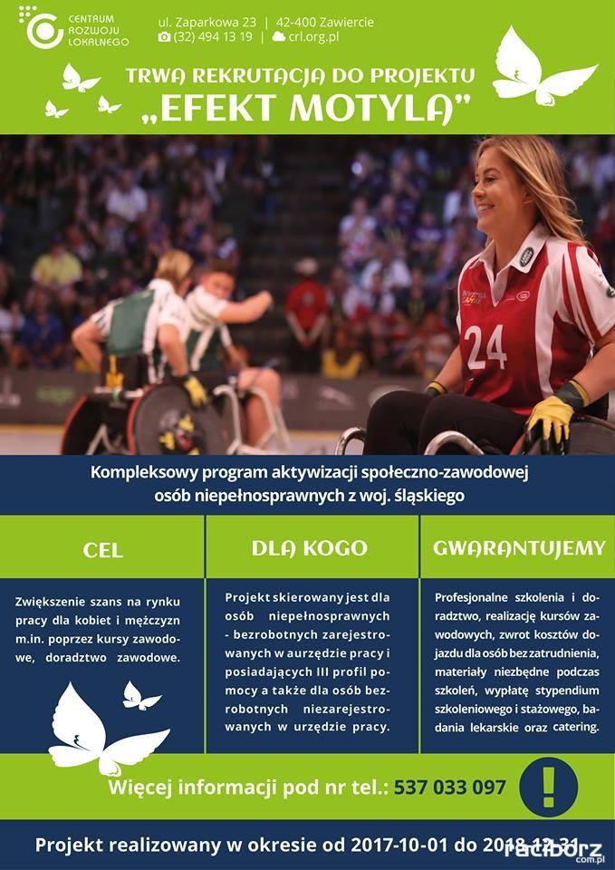 Projekt Efekt Motyla dla niepełnosprawnych - plakat