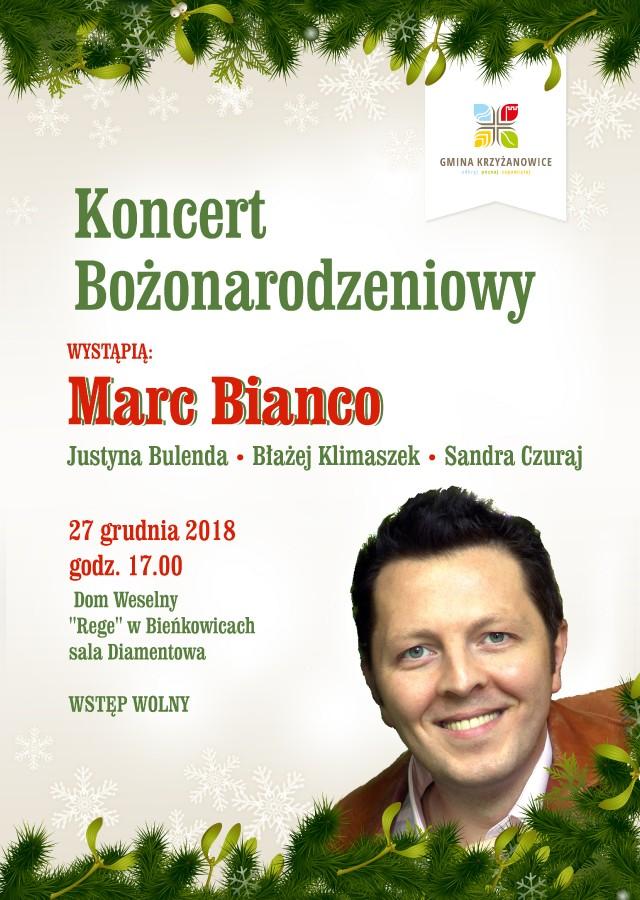 koncert bożonarodzeniowy krzyżanowice marc bianco