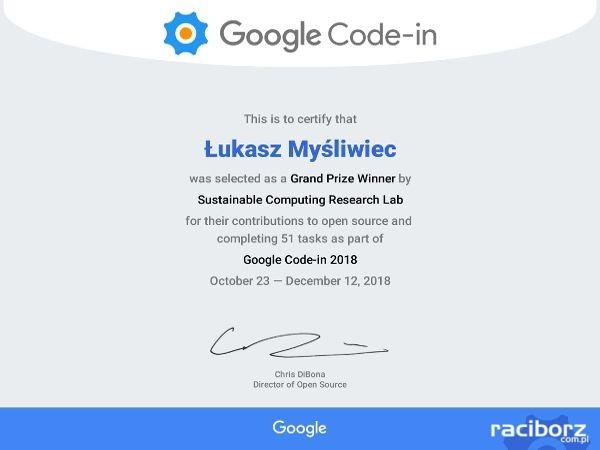 lukasz z wodzislawia certyfikat