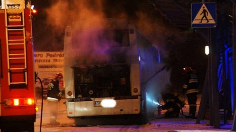 Pożar autobusu na dworcu PKS