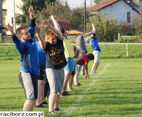 Trening drużyny futbolu amerykańskiego